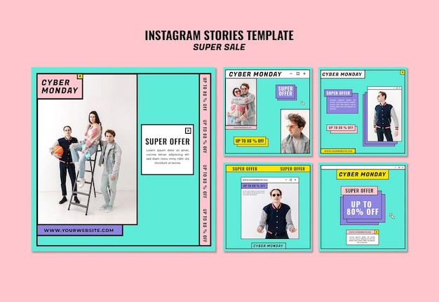 Modèle d'histoires instagram concept cyber lundi