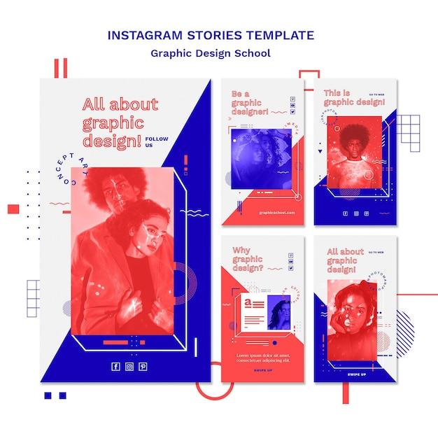 Modèle d'histoires instagram de concept d'école de design graphique