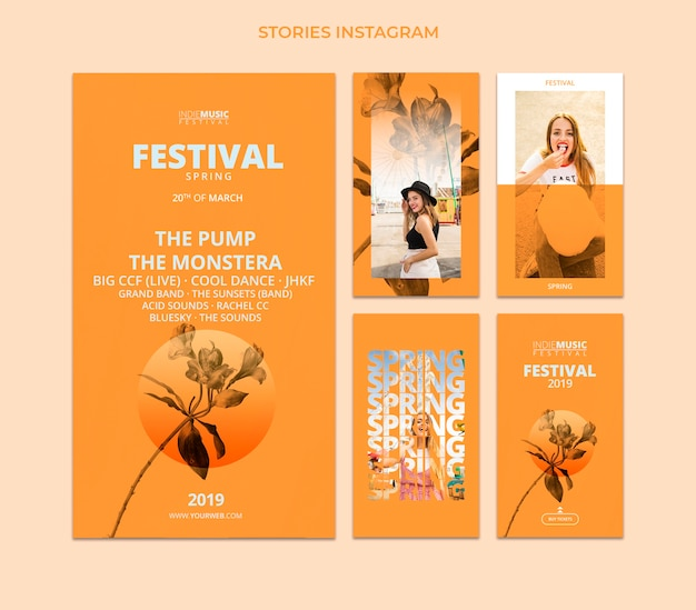 Modèle d'histoires instagram avec concept de festival de printemps
