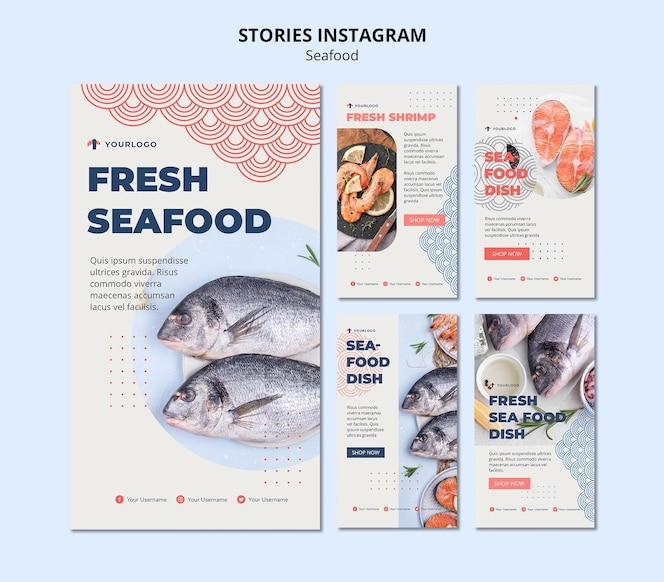 Modèle d'histoires instagram de concept de fruits de mer