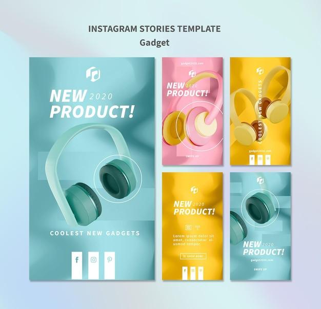 Modèle d'histoires instagram de concept de gadget