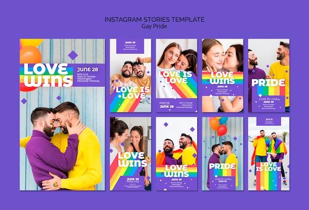 Modèle d'histoires instagram concept gay prinde