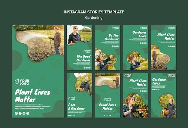 Modèle d'histoires instagram de concept de jardinage