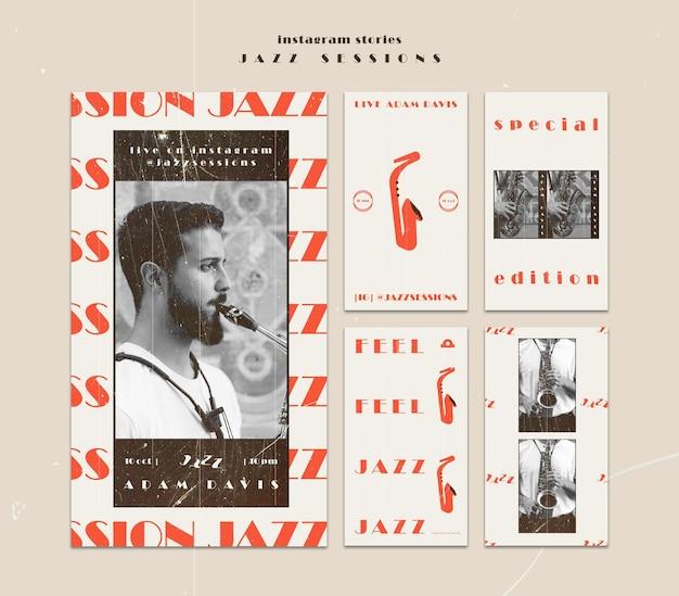 Modèle d'histoires instagram de concept de jazz