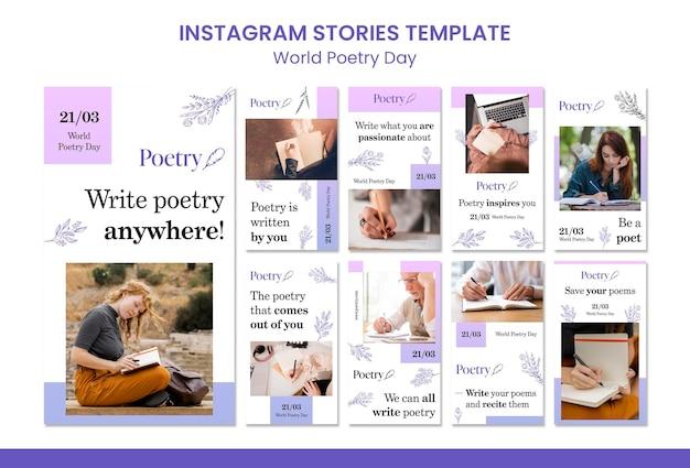 Modèle d'histoires instagram de concept de journée mondiale de la poésie