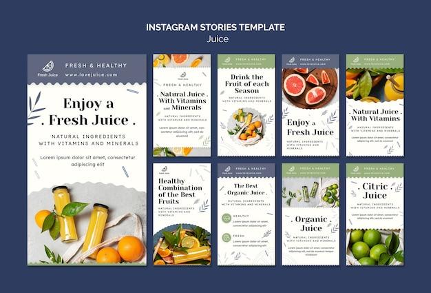 Modèle d'histoires instagram de concept de jus
