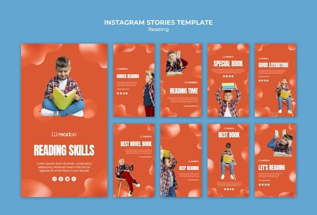 Modèle d'histoires instagram concept de lecture