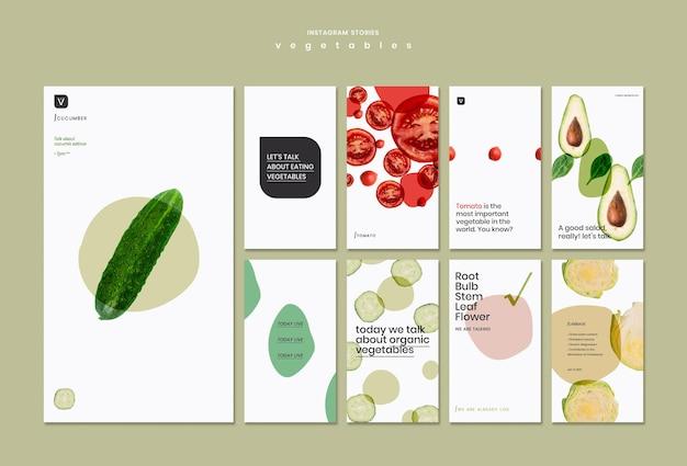Modèle d'histoires instagram de concept de légumes