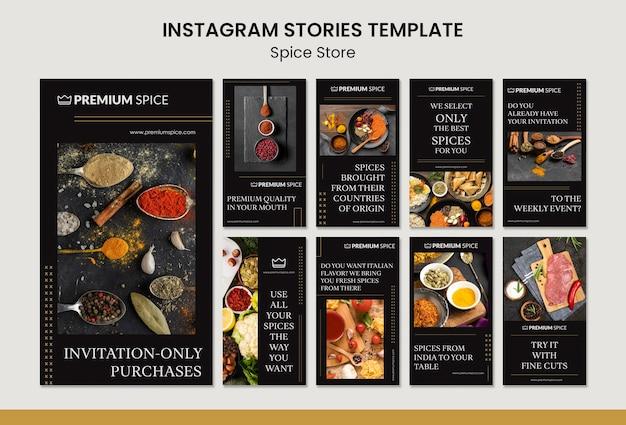 Modèle d'histoires instagram de concept de magasin d'épices