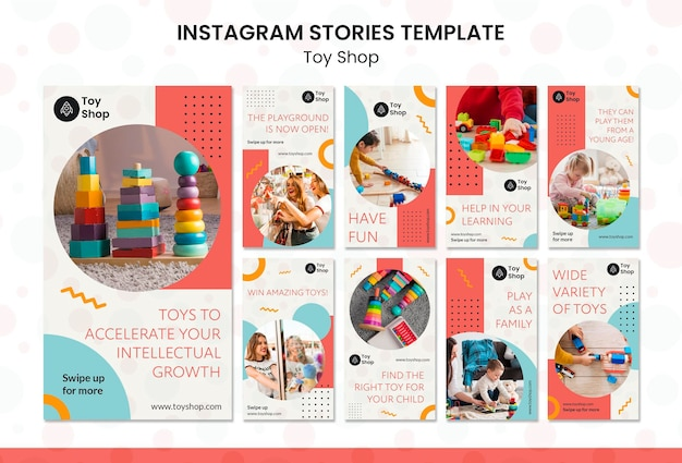 Modèle d'histoires instagram de concept de magasin de jouets