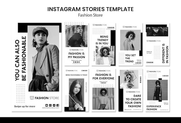 Modèle d'histoires instagram de concept de magasin de mode