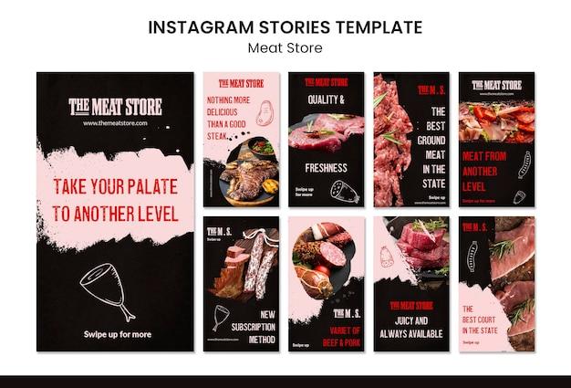 Modèle d'histoires instagram de concept de magasin de viande