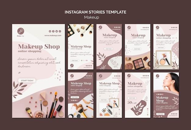 Modèle d'histoires instagram de concept de maquillage