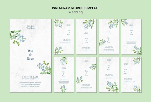 Modèle d'histoires instagram concept de mariage