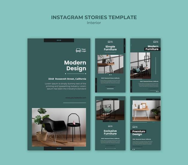 Modèle d'histoires instagram de concept de meubles