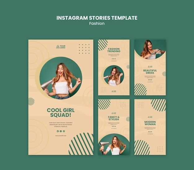 Modèle d'histoires instagram de concept de mode