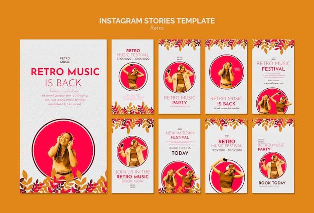 Modèle d'histoires instagram de concept de musique rétro