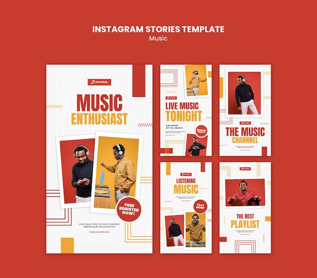 Modèle d'histoires instagram de concept de musique