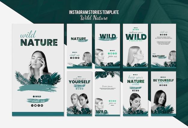 Modèle d'histoires instagram avec le concept de nature sauvage