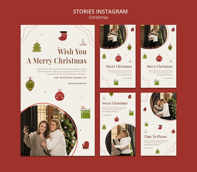 Modèle d'histoires instagram de concept de noël