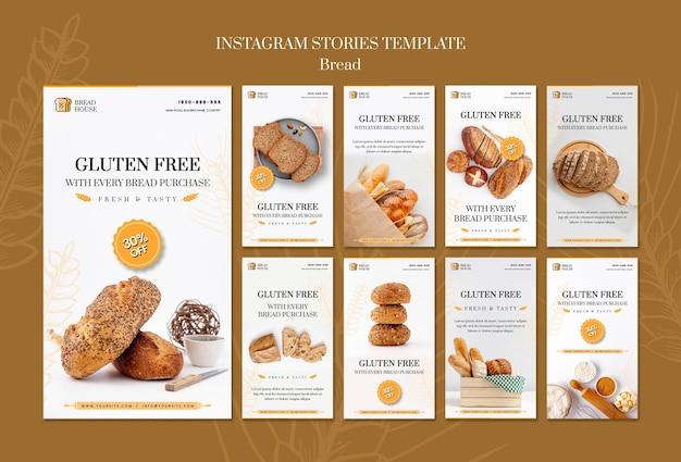 Modèle d'histoires instagram de concept de pain