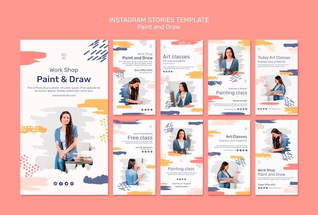 Modèle d'histoires instagram concept de peinture et dessin