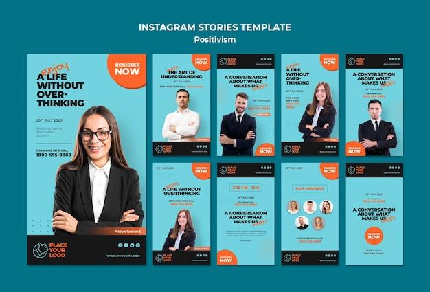 Modèle d'histoires instagram de concept de positivisme