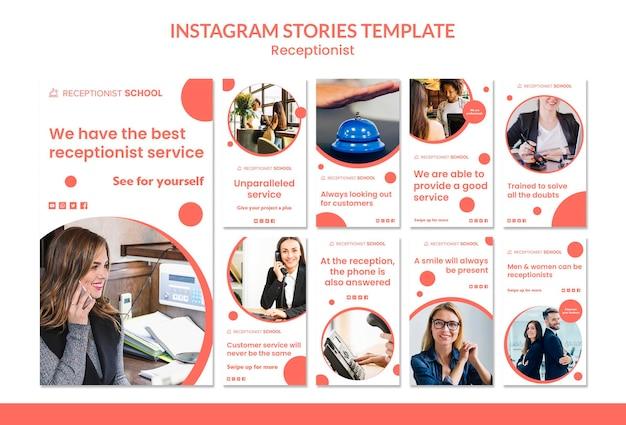 Modèle d'histoires instagram de concept de réceptionniste
