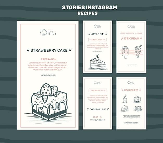 Modèle d'histoires instagram de concept de recettes