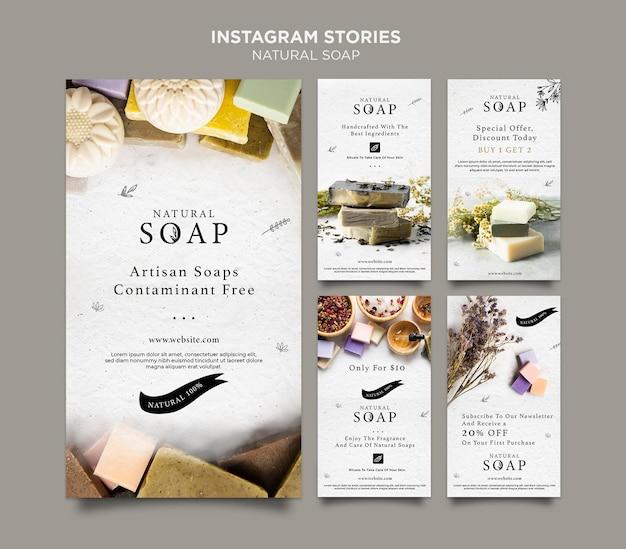 Modèle d'histoires instagram de concept de savon naturel