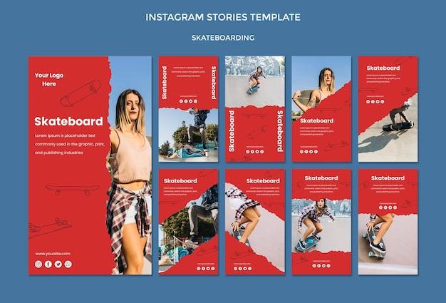 Modèle d'histoires instagram de concept de skateboard