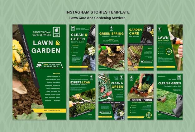 Modèle d'histoires instagram de concept de soins de pelouse