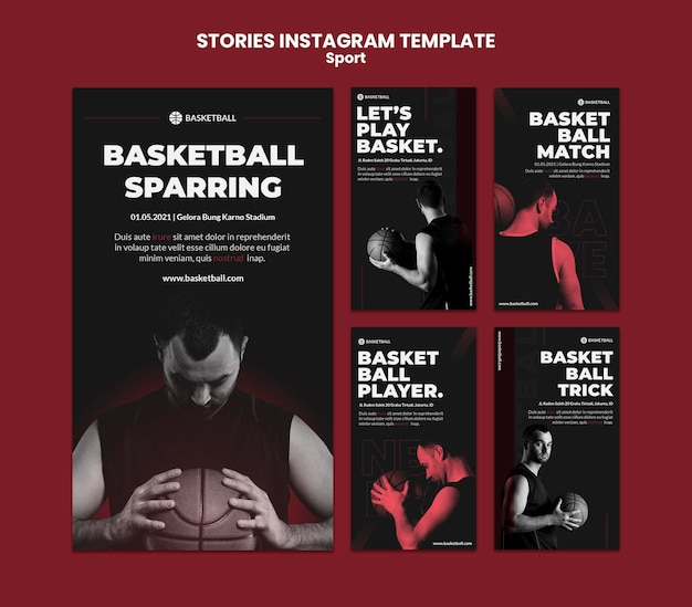 Modèle d'histoires instagram de concept de sport