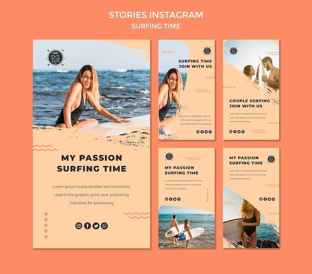Modèle d'histoires instagram de concept de surf