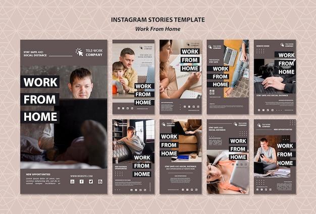 Modèle d'histoires instagram de concept de travail à domicile