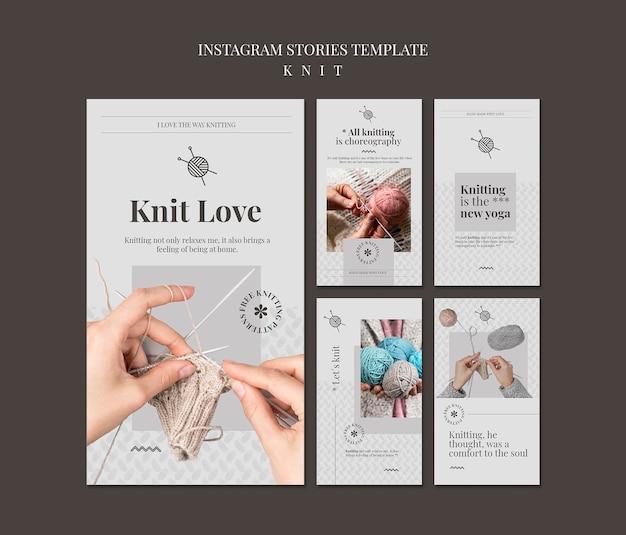 Modèle d'histoires instagram de concept de tricot