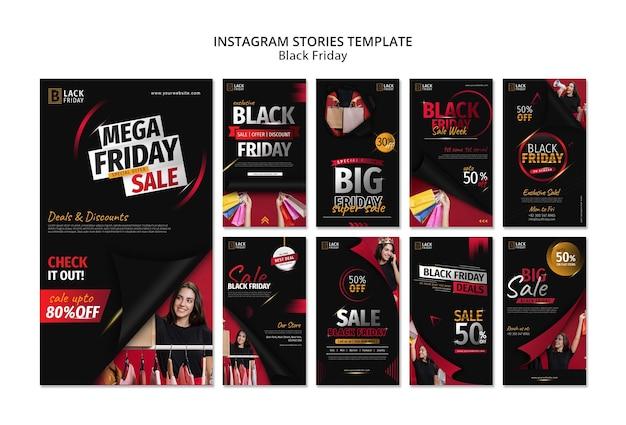 Modèle d'histoires instagram de concept de vendredi noir
