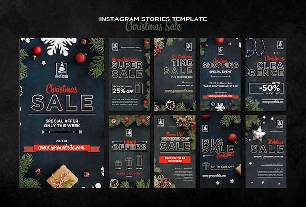Modèle d'histoires instagram de concept de vente de noël