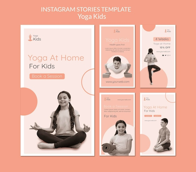 Modèle d'histoires instagram de concept de yoga
