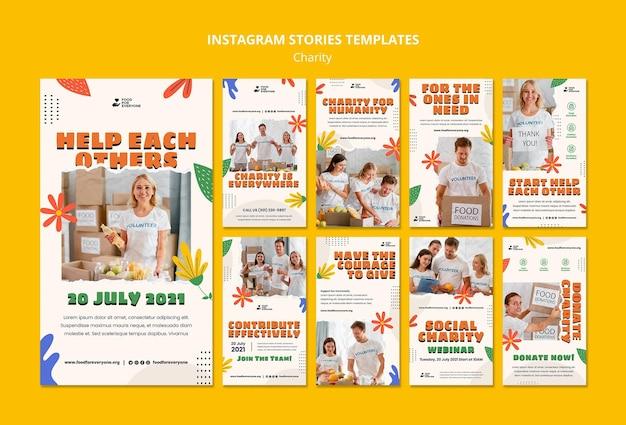 Modèle d'histoires instagram de conception de charité