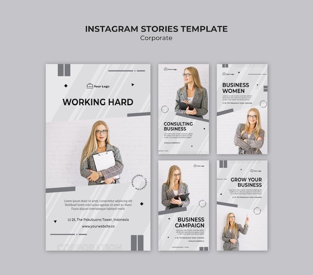 Modèle d'histoires instagram de conception d'entreprise