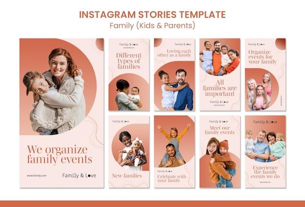Modèle d'histoires instagram de conception familiale