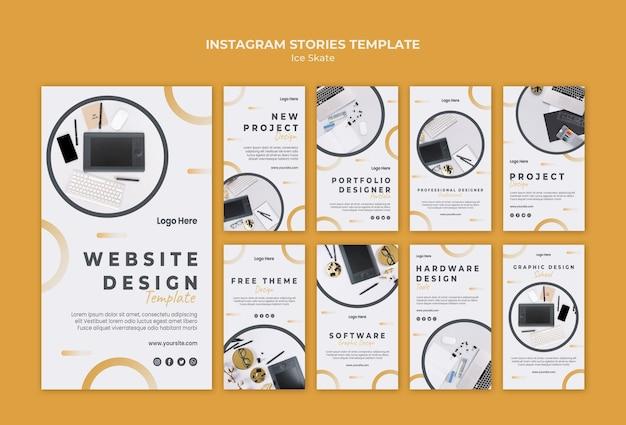 Modèle d'histoires instagram de conception graphique