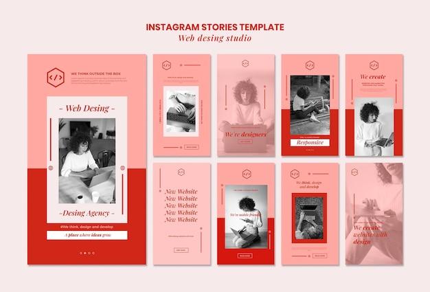 Modèle d'histoires instagram de conception de studio web