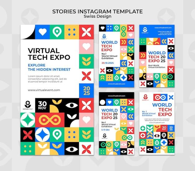 Modèle d'histoires instagram de conception suisse