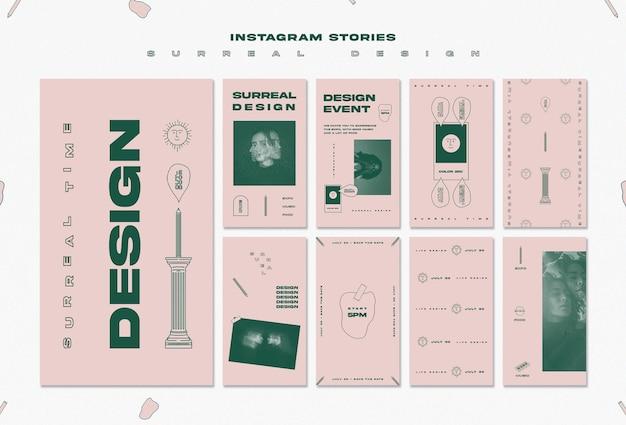Modèle d'histoires instagram de conception surréaliste