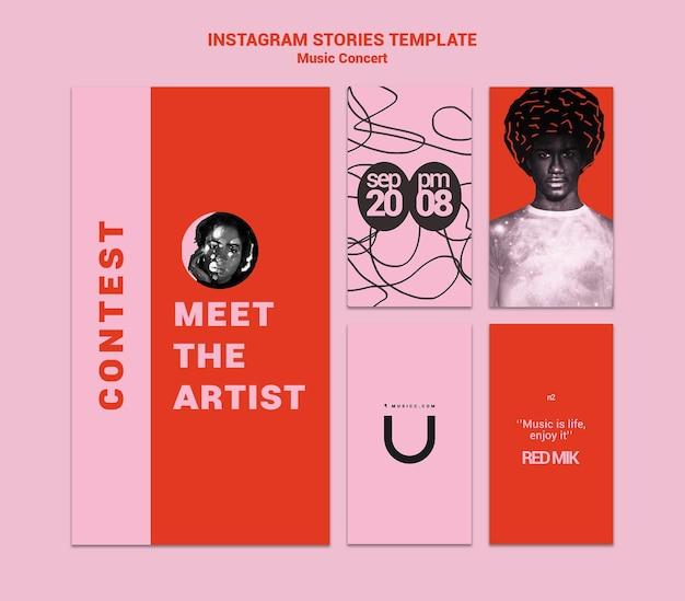 Modèle d'histoires instagram de concert de musique