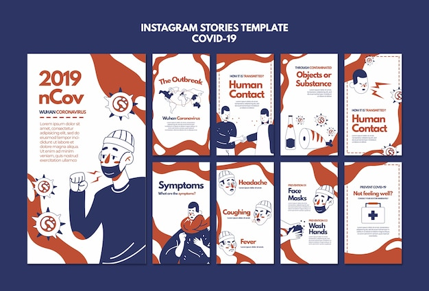 Modèle d'histoires instagram coronavirus de wuhan