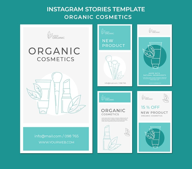 Modèle d'histoires instagram de cosmétiques bio