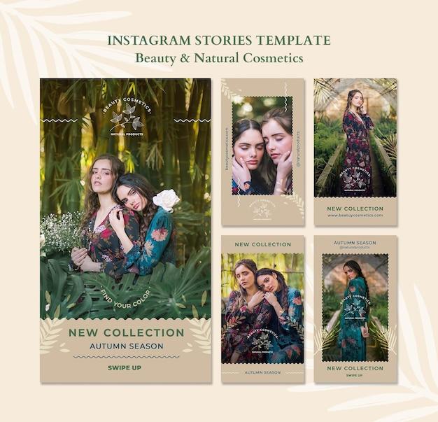 Modèle d'histoires instagram de cosmétiques naturels